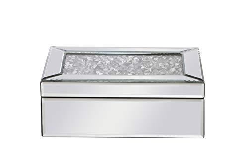 Living District 10 inch Rectangle Crystal Jewelry Box Silver Royal Cut Crystal