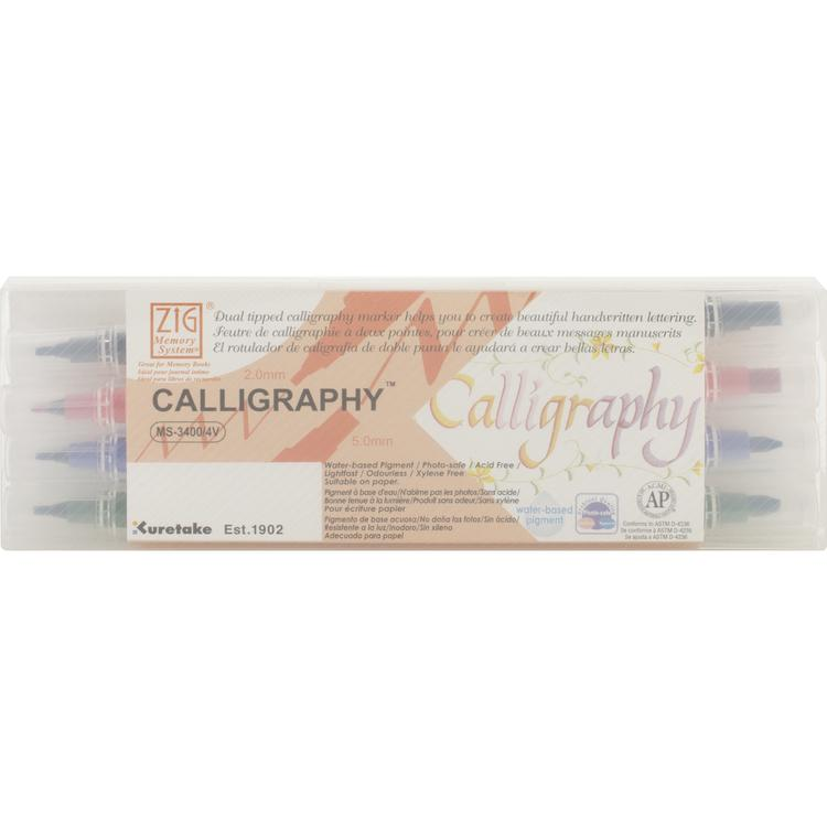 Zig Memory System Calligraphy Dual-Tip Markers 4/Pkg-