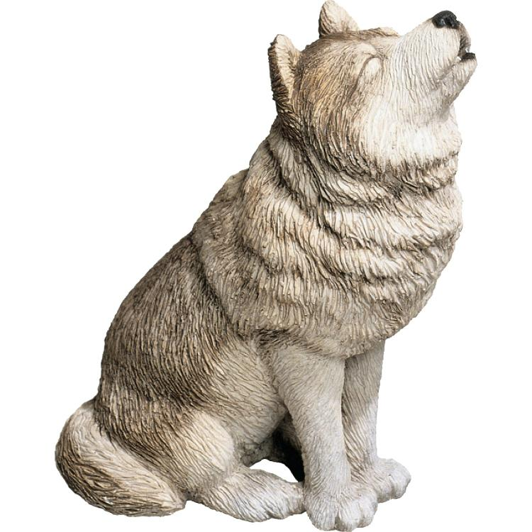 Sandicast Mid Size Gray Wolf Sculpture, Howling