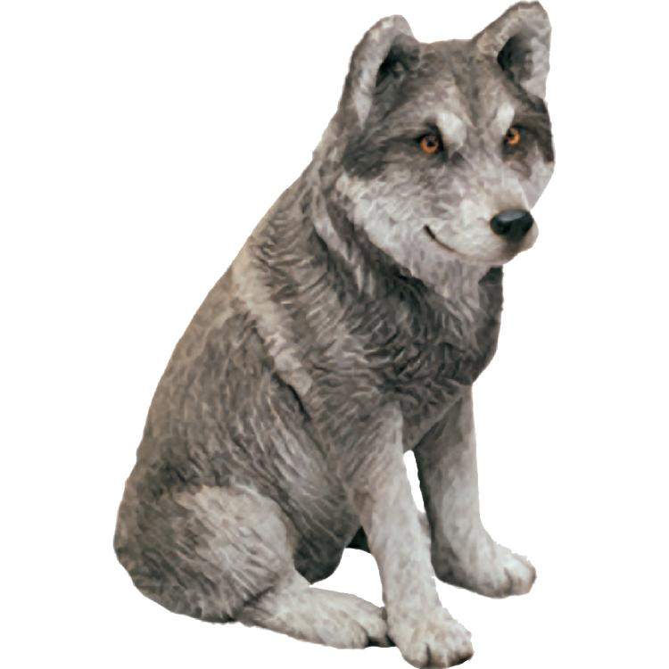 Sandicast Mid Size Gray Mexican Wolf Sculpture, Sitting