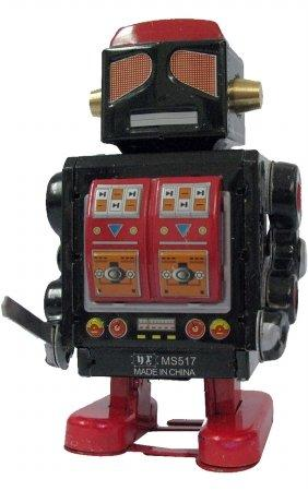 TIN TOY-ROBOT BLK/RED  EACH