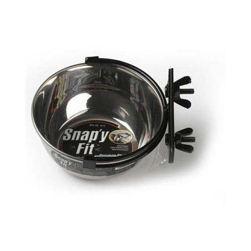 Stainless Steel Snap'Y Fit Water And Feed Bowl 10 Oz