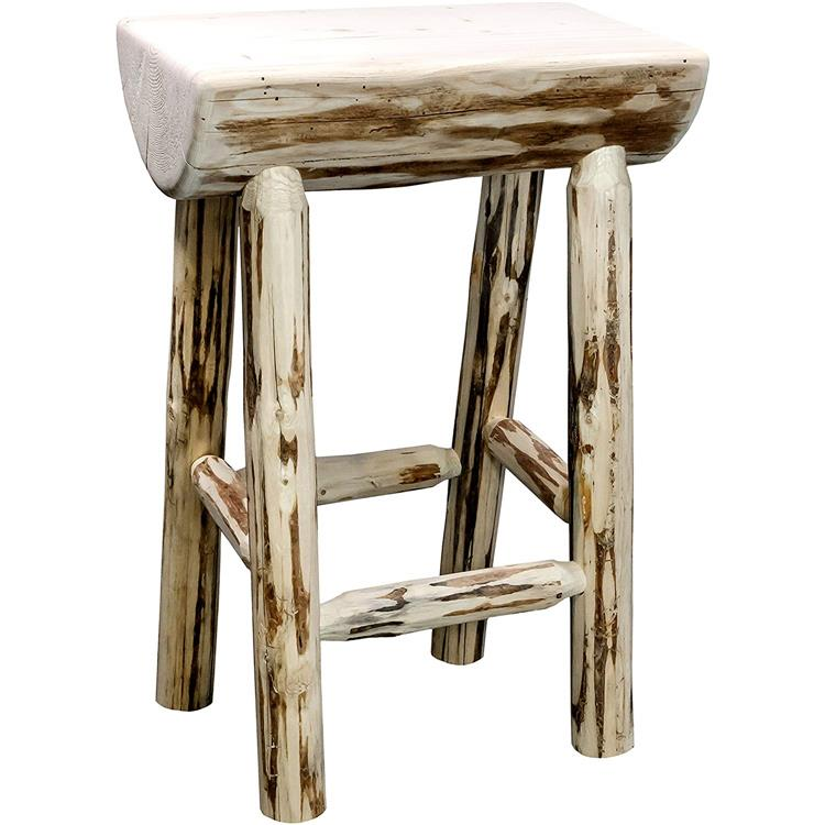 Montana Woodworks Montana Collection Counter Height Half Log Barstool, Ready to Finish