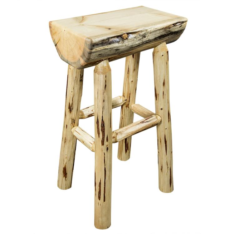 Montana Woodworks  Montana Collection Counter Height Half Log Barstool w/ Exterior Finish [Item # MWBNHL24EXT]