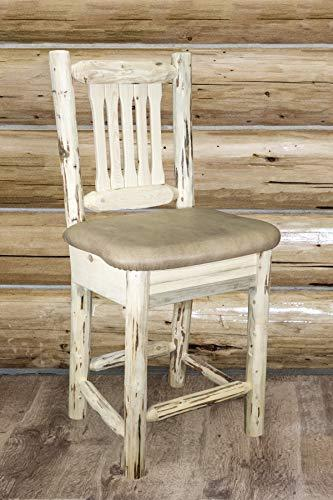 Montana Woodworks  Montana Collection Counter Height Barstool w/ Back - Buckskin Upholstery, Ready to Finish [Item # MWBSWNRBUCK24]