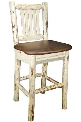 Montana Woodworks Montana Collection Barstool w/ Back, Ready to Finish w/ Upholstered Seat, Saddle Pattern