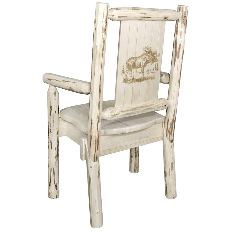 Montana Woodworks  Montana Collection Captain's Chair w/ Laser Engraved Moose Design, Ready to Finish