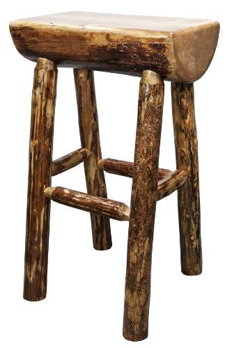 Glacier Country Collection Half Log Barstool