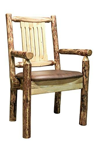 Montana Woodworks Glacier Country Collection Captain's Chair w/ Upholstered Seat, Saddle Pattern