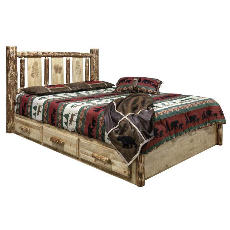 Montana Woodworks  Glacier Country Collection Platform Bed w/ Storage, King w/ Laser Engraved Pine Design