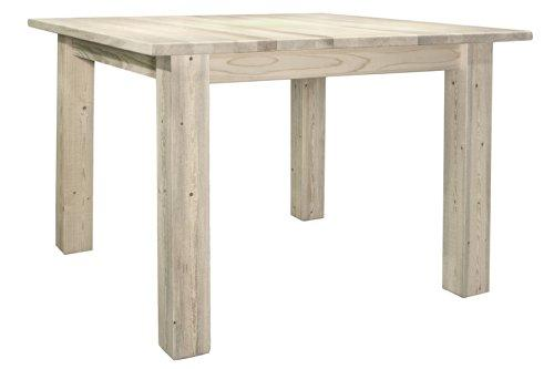 Montana Woodworks Homestead Collection Square 4 Post Dining Table, Clear Lacquer Finish