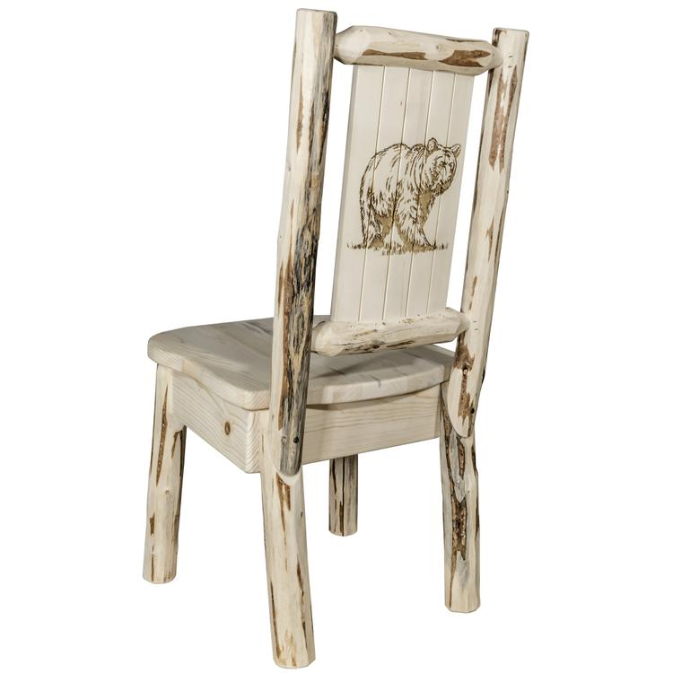 Montana Woodworks  Montana Collection Side Chair w/ Laser Engraved Bear Design, Ready to Finish