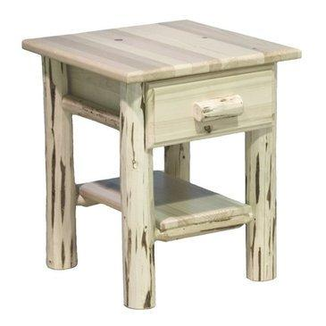 Montana Woodworks Montana Collection Nightstand with Drawer & Shelf, Clear Lacquer Finish