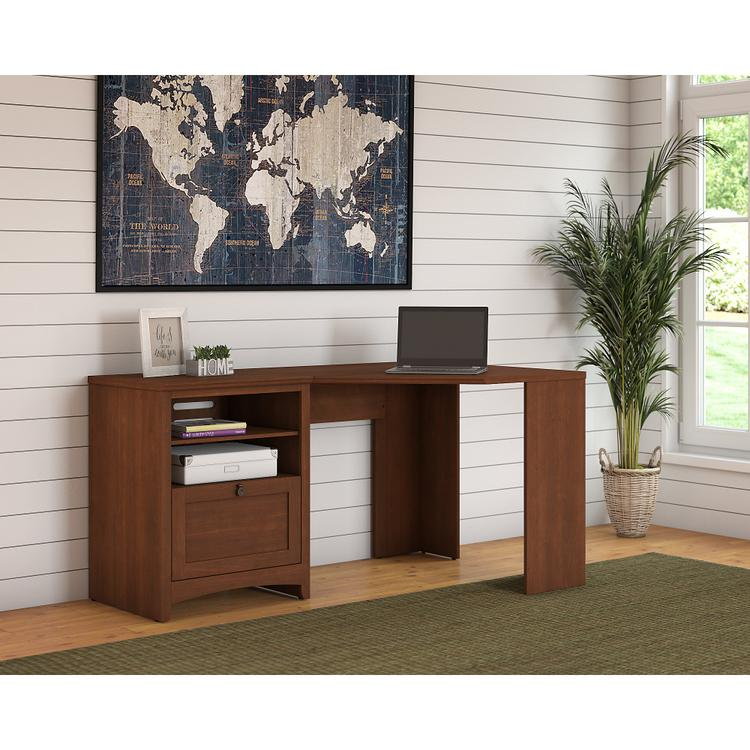 Bush Furniture Buena Vista 60W Corner Desk with Storage