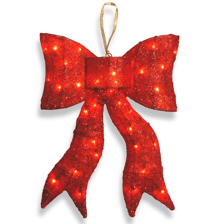 National Tree Pre-Lit Red Wavy Sisal Bow