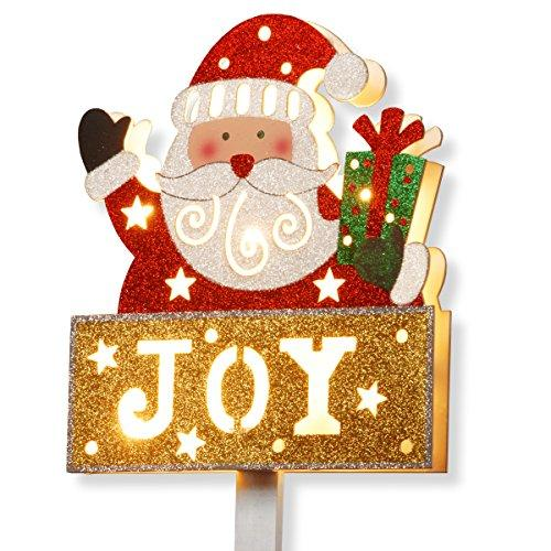 National Tree Pre-Lit Santa with JOY Sign