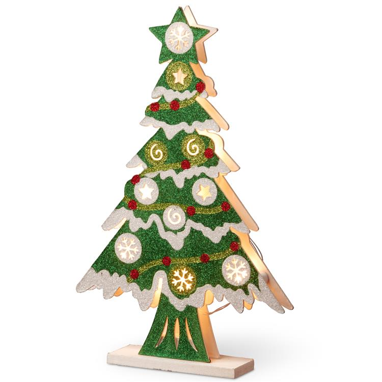 National Tree Pre-Lit 17 inch Wooden Christmas Tree