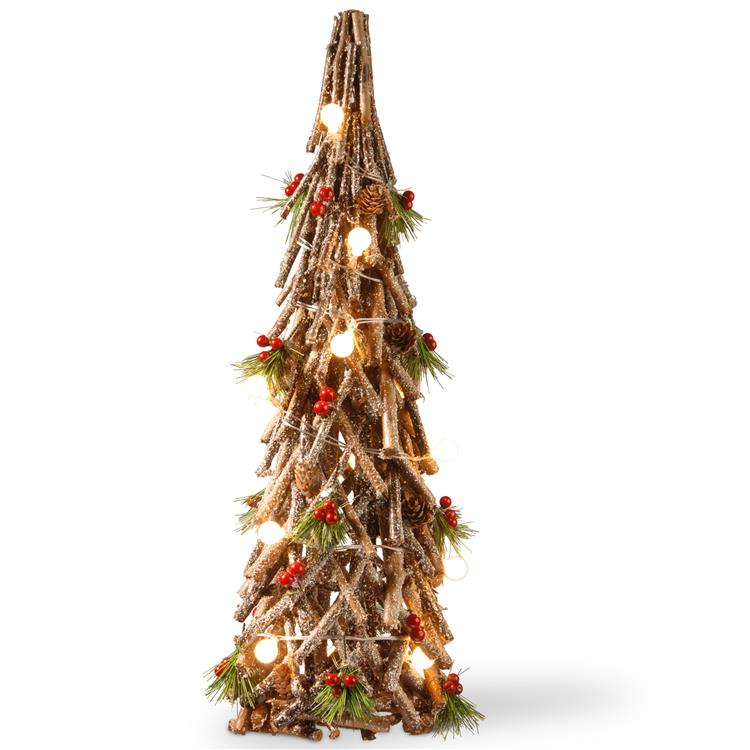 National Tree Pre-Lit 23 inch Wood Look Holiday Tree [Item # MZC-819]