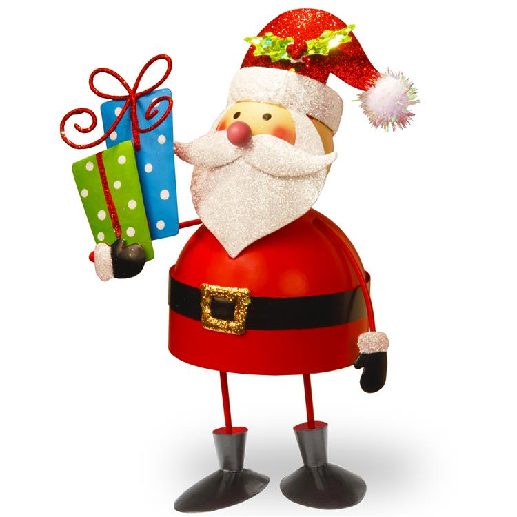 National Tree 10 inch Metal Bobble Santa [Item # MZC-846]