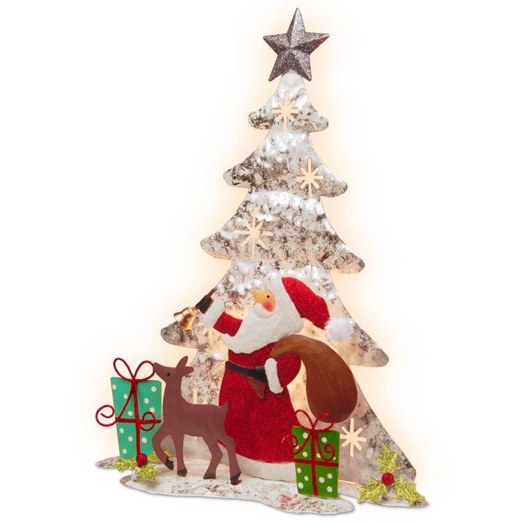 National Tree 16 inch Lighted Tree Santa Scene [Item # MZC-879]