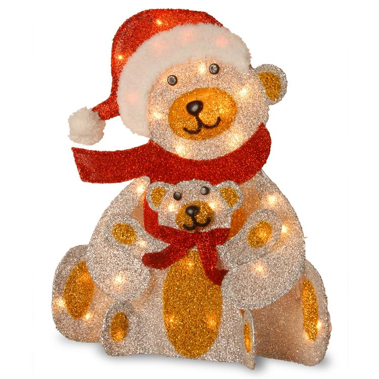 National Tree Pre-Lit 24 inch Silver Fabric Bear Decoration