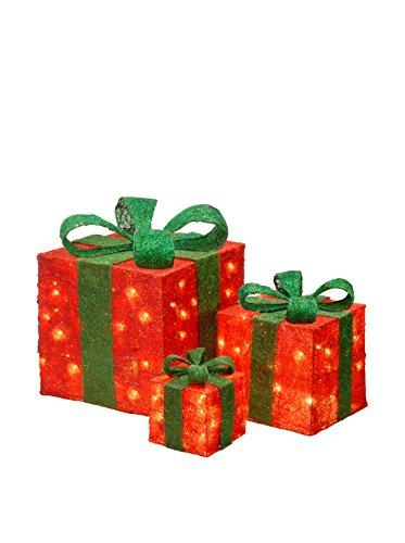 National Tree Assorted Red Sisal Gift Boxes with Green Bow and Clear Lights