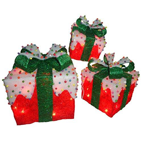 National Tree Red Sisal Gift Boxes with Bow and 50 Clear Lights - Set of 3