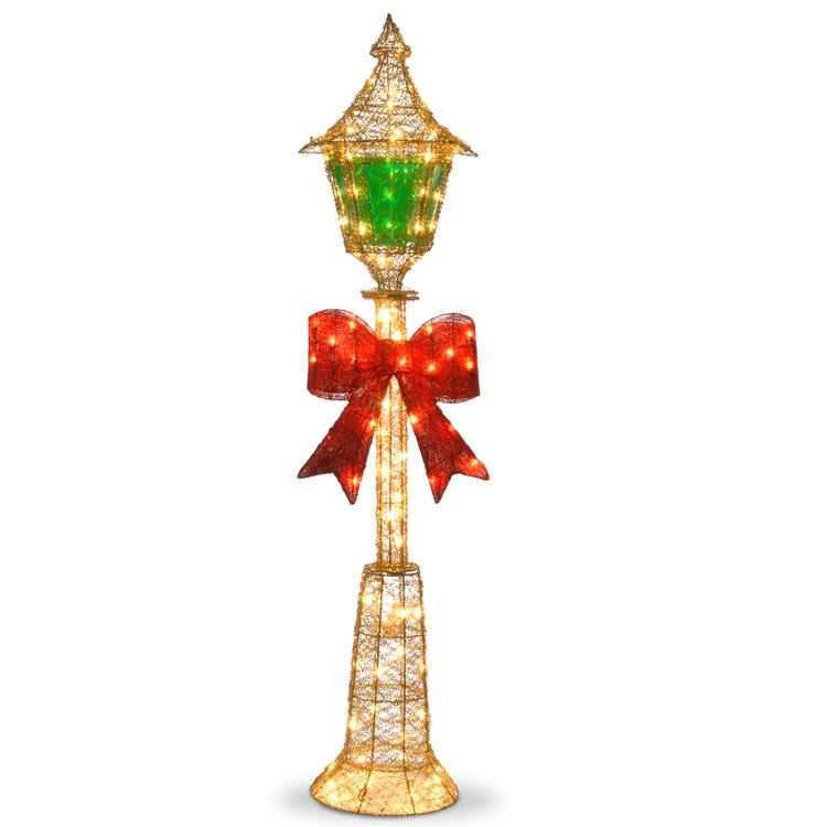 National Tree Pre-Lit 60 inch Gold Wire Lamp Post