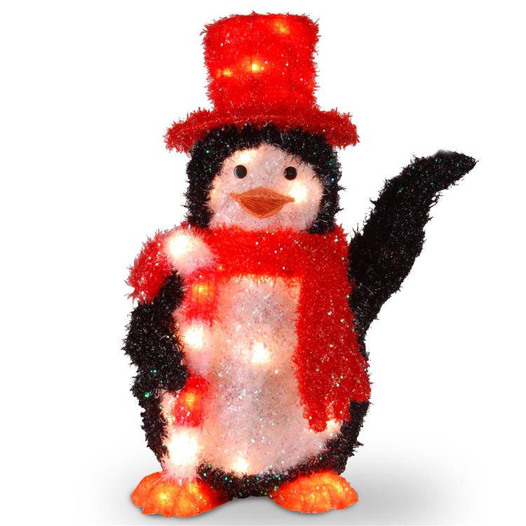 National Tree Pre-Lit Tinsel Penguin