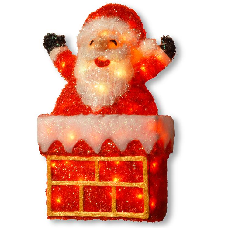 National Tree Pre-Lit 24 inch Tinsel Santa on Chimney