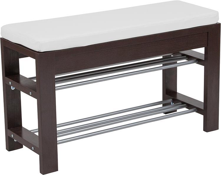 Flash Furniture Bay Ridge Espresso Wood Finish Storage Bench with Cushion