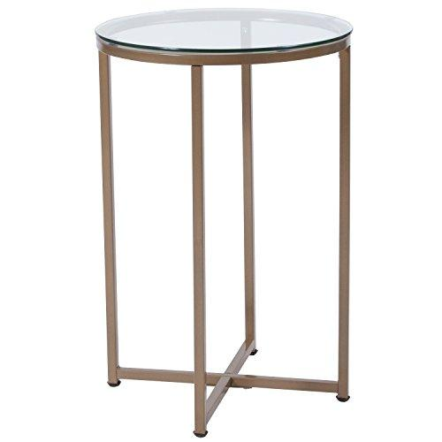 Greenwich Collection Glass End Table with Matte Gold Frame