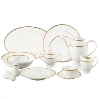 La Luna Collection Bone China 57 Piece24K Gold Greek Key Design Dinnerware Set, Service for 8 by Lorren Home Trends.