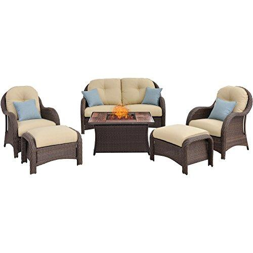 Hanover NEWPT6PCFP-CRM-WG Newport 6-Piece Seating Set with Wood Grain Tile Top Fire Pit [Item # NEWPT6PCFP-CRM-WG]