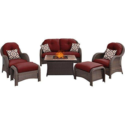 Hanover NEWPT6PCFP-RED-TN Newport 6-Piece Seating Set withTan Tile Top Fire Pit [Item # NEWPT6PCFP-RED-TN]