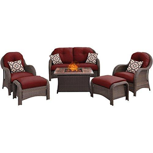 Hanover NEWPT6PCFP-RED-WG Newport 6-Piece Seating Set with Wood Grain Tile Top Fire Pit [Item # NEWPT6PCFP-RED-WG]