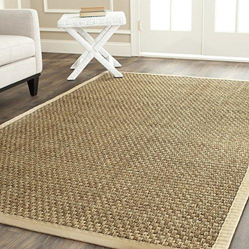 Traditional Rug - Natural Fiber Seagrass With Cotton Border/Polypropylene Backing -Natural/Beige Style-A