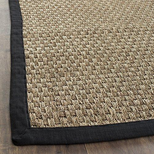 Traditional Rug - Natural Fiber Seagrass With Cotton Border/Polypropylene Backing -Natural/Black Style-A