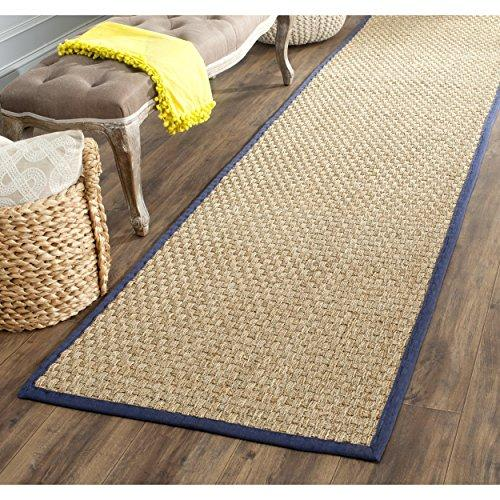Traditional Rug - Natural Fiber Seagrass With Cotton Border/Polypropylene Backing -Natural/Blue Style-A