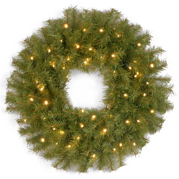 National Tree Norwood Fir Wreath with Battery Operated Warm White LED Lights