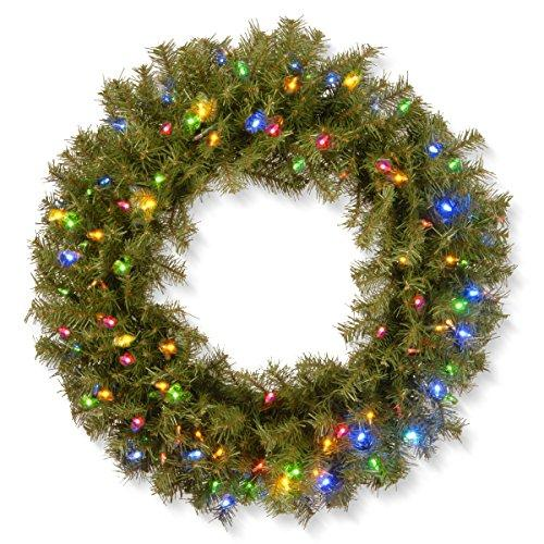 National Tree Norwood Fir Wreath with Battery Operated Multicolor LED Lights