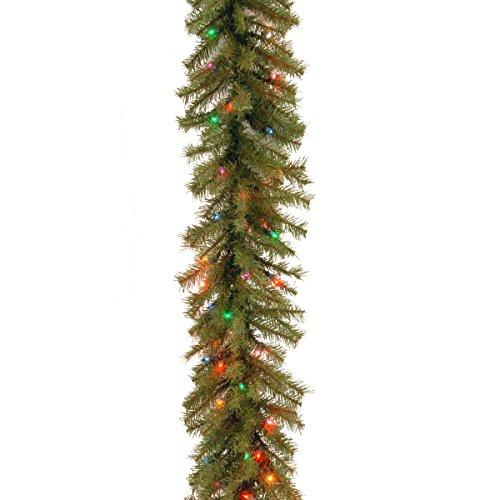 National Tree Norwood Fir Garland with Battery Operated Multicolor LED Lights