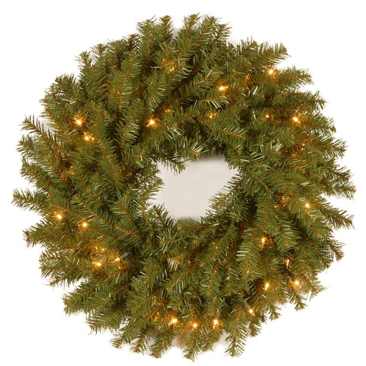 National Tree Norwood Fir Wreath with Clear Lights [Item # NF-24WLO-1]