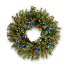 National Tree Norwood Fir Wreath with Multicolor LED Lights