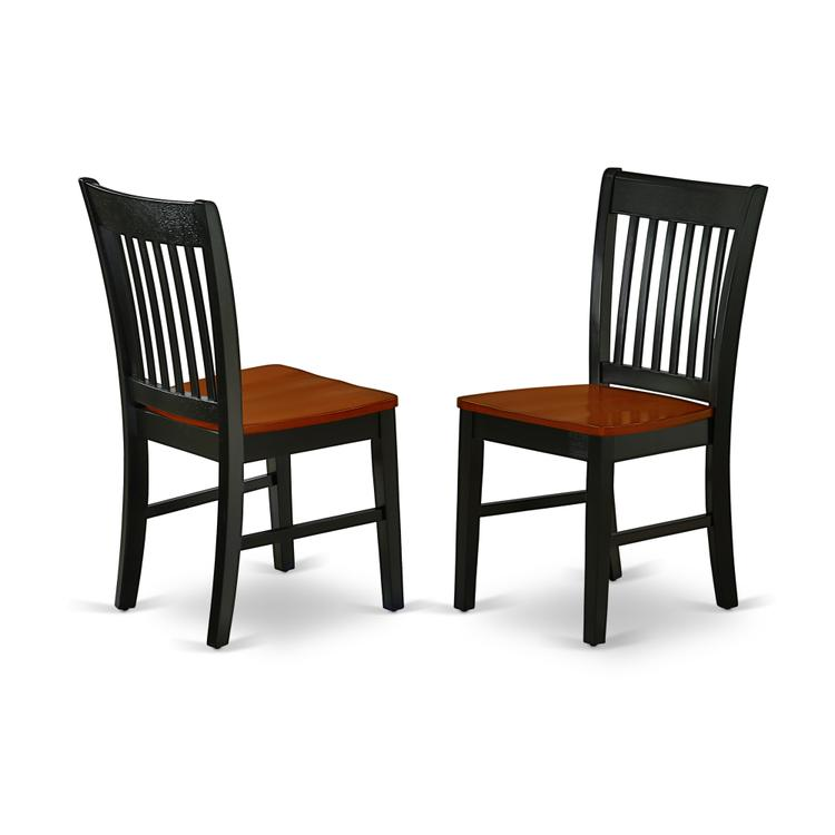 East West Furniture NFC-BCH-W Norfolk Dining Chair with Plain Wood Seat in Black & Cherry Finish Set of 2