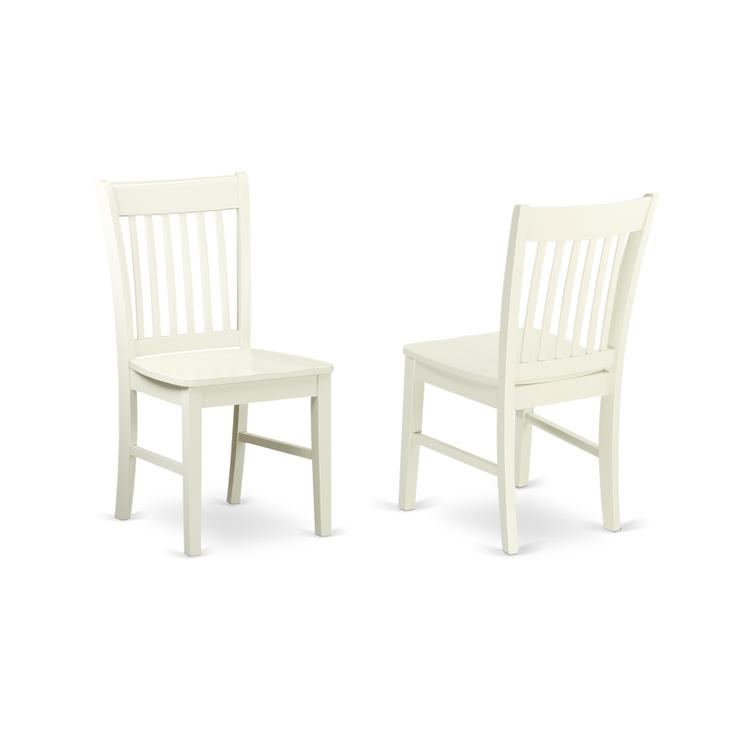 East West Furniture Norfolk Dining chair with Wood Seat  -Linen White Finish.