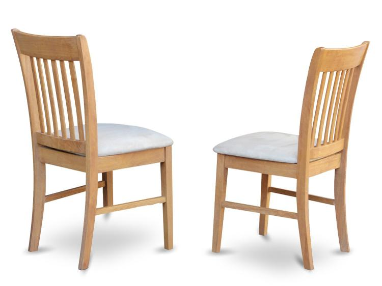East West Furniture Norfolk Dining chair with Wood Seat  -Oak Finish.