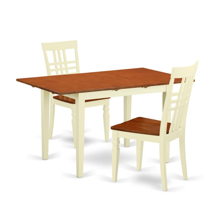 NFLG3-BMK-W 3 Pcsmall Kitchen Table set and 2 hard wood Dining Chairs. Norfork in Buttermilk and Cherry [Item # NFLG3-BMK-W]