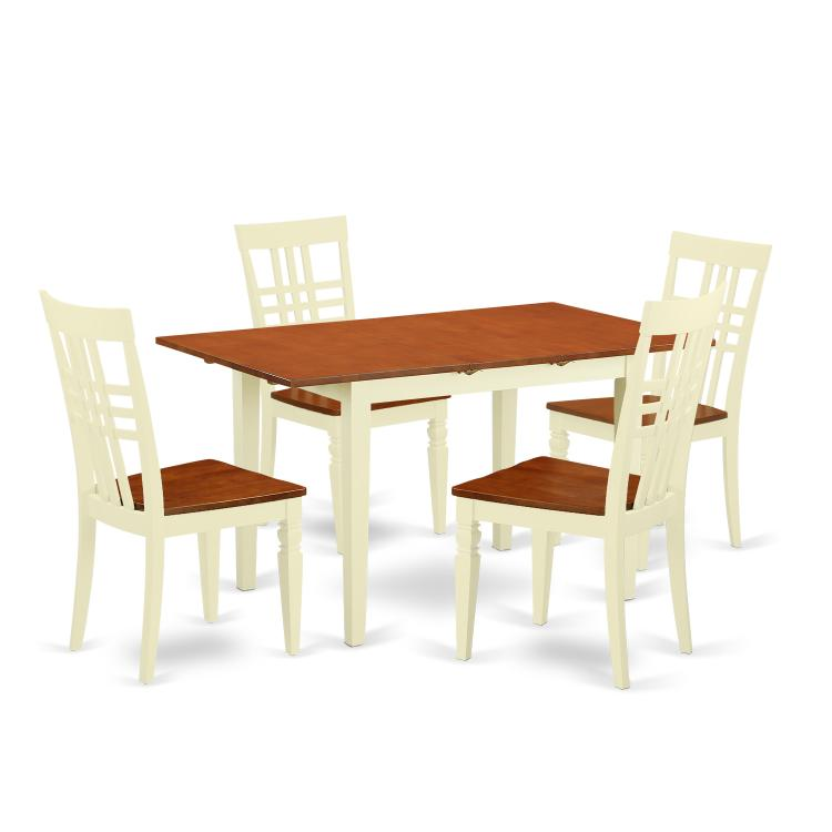 NFLG5-BMK-W 5 PC Norfork small Table and 4 Wood Dining Chairs in Buttermilk and Cherry [Item # NFLG5-BMK-W]