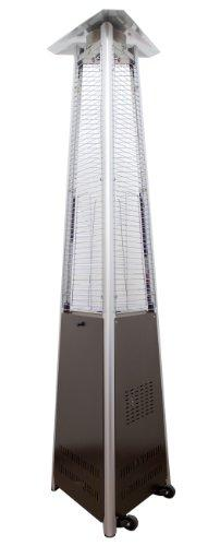 AZ Patio Heaters Natural Gas Glass Tube Patio Heater in Hammered Bronze